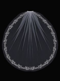 Wrist Bridal Veil with Stylized Vine Embroidery