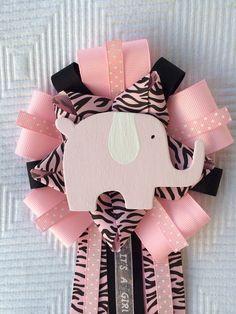 Girl Baby Shower Elephant Corsage Jungle Safari Pink Black   on Etsy, $14.00