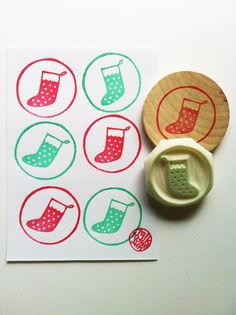christmas stocking stamp. hand carved rubber stamp. circle pattern.  diy christmas projects. mounted. on Etsy, $16.00