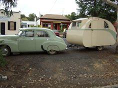 vintage car and caravan, Australia