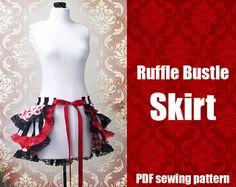 Perfect for Halloween! Ruffle Bustle Skirt Printable PDF Pattern, sizes XS - 2X