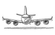 Cartoon Airplane Front View Drawing