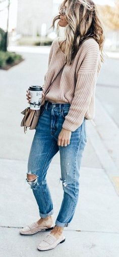 sweater + relaxed fit jeans + studded mules casual ootd