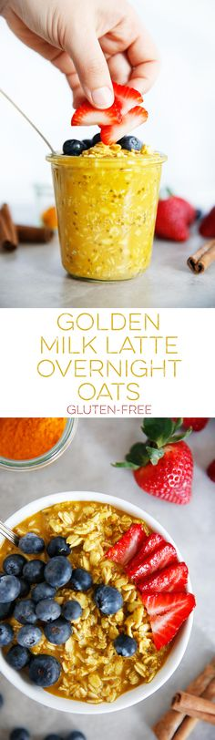 These Golden Milk Latte Overnight Oats are the perfect make ahead breakfast that is hearty, nutrient-dense, and delicious! They require absolutely no cooking and make for a perfect anti inflammatory overnight oats recipe. #overnightoats #goldenmilk #easy #breakfast #oats