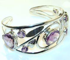 $151.29 Amazing Genuine Amethyst Sterling Silver  Bracelet at www.SilverRushStyle.com #bracelet #handmade #jewelry #silver #amethyst