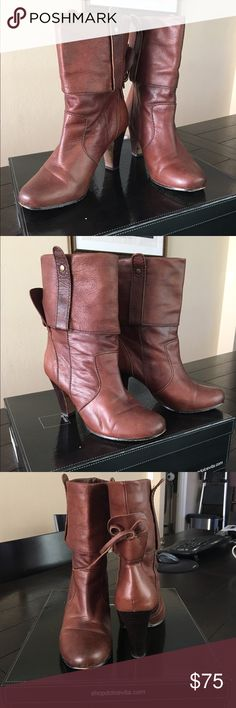 """Dolce Vita Webber Marrone Booties Slightly worn in good condition. Leather upper, with cuff; 3"""" heel, 7"""" shaft, pull on style. Originally purchased at Bloomingdales. No trade Dolce Vita Shoes Ankle Boots & Booties"""