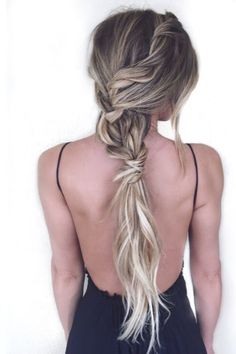 messy braid and long ponytail
