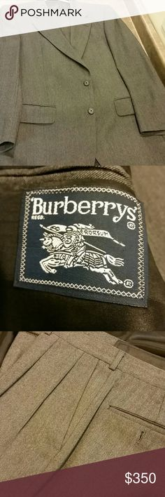 BURBERRY MEN GRAY SUIT 40S $1K plus Very impressive suit.  Pleats and cuffed. Pants 36×29.  Extremely high quality for that executive dresser that likes to impress. Make me an descent offer, its yours Burberry Suits & Blazers Suits