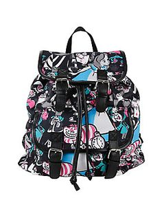 "<p>Medium slouch backpack from Disney's <i>Alice in Wonderland</i> with an allover character collage print design. Snap button and drawstring closure.</p>  <ul> 	<li>15"" x 12""</li> 	<li>Imported</li> </ul>"