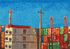 Containers and telegraph pole Needlepoint by Jessie Deane