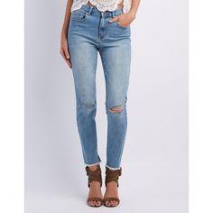 Refuge Hi-Rise Skinny Destroyed Jeans ($35) ❤ liked on Polyvore featuring jeans, medium wash denim, super skinny jeans, high-waisted skinny jeans, ripped skinny jeans, high waisted jeans and super high-waisted skinny jeans
