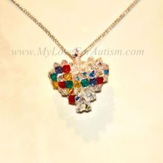 Swarovski Crystal Autism Awareness Heart  Pendant Available @ www.MyLoveForAutism.com