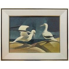 Cubist Painting by Jack Dudley, Two Seagulls | From a unique collection of antique and modern paintings at https://www.1stdibs.com/furniture/wall-decorations/paintings/