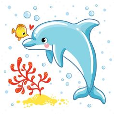 Cute cartoon dolphin vector image on VectorStock Dolphin Drawing, Dolphin Painting, Dolphin Art, Painting For Kids, Art Drawings For Kids, Drawing For Kids, Cartoon Drawings, Easy Drawings, Art For Kids
