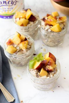 Peach Chia Overnight Oats Breakfast is made easy with these delicious peach chia overnight oats. Start your morning off right even when you are rushed! http://abite.co/peach-oats