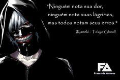Ninguém nota sua dor... | Frases de Animes