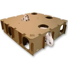 Maze Haven: Create a horizontal and/or vertical labyrinth of cubby holes, pathways and hideouts for your rabbit to explore. Change just the inside by switching around the panels. This toy feeds into your rabbit's natural instinct to map surroundings as a Bunny Cages, Rabbit Cages, House Rabbit, Rabbit Toys, Pet Rabbit, Diy Bunny Toys, Cat Toys, Diy Toys For Rabbits, Bunny Room