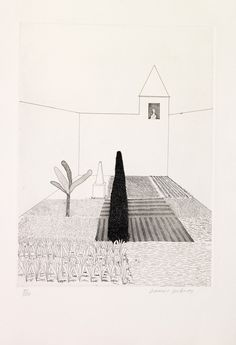 David Hockney (British, born 1937), Rapunzel Growing in the Garden, from Six Fairy Tales from the Brothers Grimm, 1969, etching.