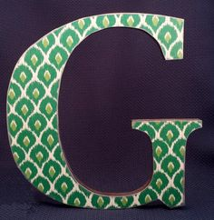 Letter G 12 Wooden Wall Decor Ikat Fabric Print Decoupaged And