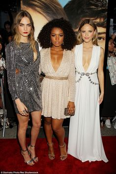Lovely ladies: Cara also joined her female co-starsJaz Sinclair (middle) and Halston Sage...