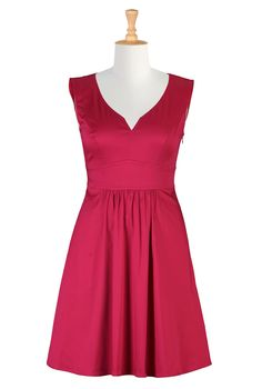 Red Cotton Sateen Dresses, Fit-And-Flare Party Dresses Shop Women's Full sleeve dresses - Ladies Designer Dresses - Shop Evening Dresses, Casual Dresses & More - | eShakti