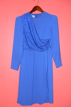 Vintage Dress 70s Cobalt Blue Chiffon by PinkCheetahVintage, $24.99