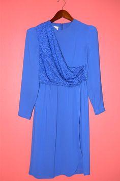 Vintage Dress 70s Cobalt Blue Chiffon by PinkCheetahVintage, $24.00