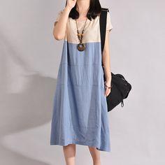 Women Cotton Linen Dress Summer Dress Loose Dresses by debag2000