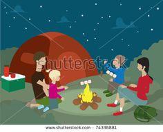 A family camping at night.