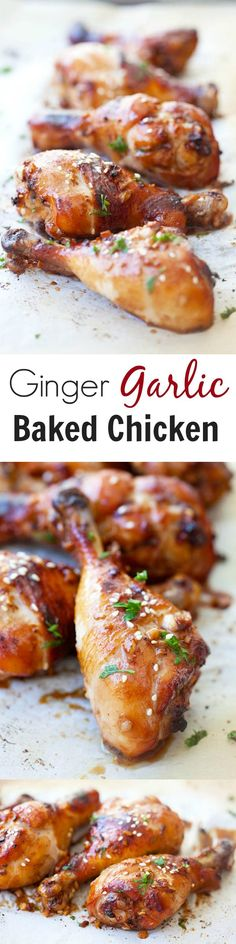 Ginger Garlic Baked Chicken - BEST & JUICIEST baked chicken with ginger, garlic, soy sauce and honey. Quick, easy & takes 30 mins only!! | rasamalaysia.com