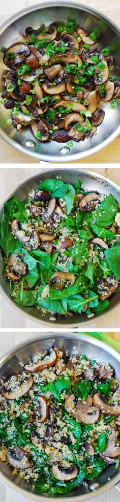 Spinach and mushroom quinoa sauteed in garlic and olive oil. Gluten free, vegetarian, vegan, low in carbs and calories, high in fiber