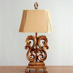 Gold Scroll Table Lamp