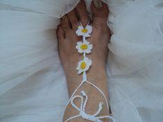 Crochet Cotton Barefoot Sandal Daisy Foot by ThalassaCrete on Etsy, $14.20