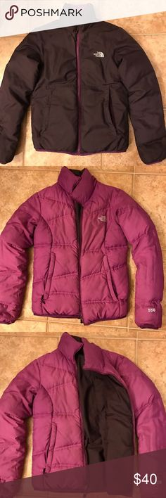 The North-face Reversible down filled jacket Small Great shape jacket lots of life left everything in perfect working order. Color is plum purple and light purple the pictures show true color. The North Face Jackets & Coats Puffers