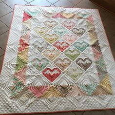 """93 Likes, 24 Comments - Julie (@sewjul) on Instagram: """"Couldn't resist posting another picture of this #logcabinheartblocks #quilt using @figtreeandco and…"""""""