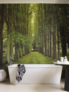 :: BATHROOMS :: interesting way to do a feature wall #bathrooms #wallpaperandmurals