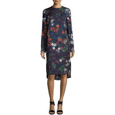 Cedric Charlier Long-Sleeve Floral-Print Dress (1,295 CAD) ❤ liked on Polyvore featuring dresses, fantasia blue, flower print dress, form fitting dresses, mullet dress, blue floral dress and floral dresses
