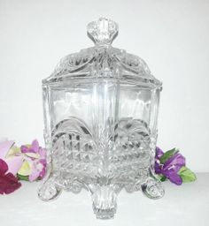 """EAPG  """"ACANTHUS SCROLL"""" pattern Square Covered Sugar Bowl made by US Glass Co. circa 1890, 7.25""""H x 4"""" square."""