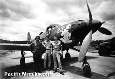P-39 Airacobra.  P-39K 42-4358 at 12 Mile Drome with McDonough & ground crew (right) Pilot William McDonough (left & center) Groundcrew: Sgt Palzuski and Sgt Pierce. Credit: USAAF, 5th AF Date: 1943  P-39K 42-4358 at 12 Mile Drome with McDonough & ground crew