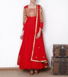 Red & Gold Anarkali