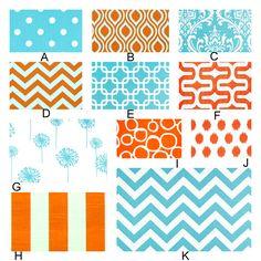 Aqua and Orange Crush - Custom Crib Bedding Set  YOU DESIGN by RockyTopDesign on Etsy https://www.etsy.com/listing/151897129/aqua-and-orange-crush-custom-crib