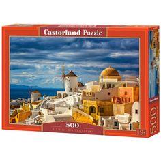 Kilátás Santorinire 500db-os puzzle - Castorland Santorini, Puzzles, Taj Mahal, Building, Travel, Image, Unique, Creative Crafts, Human Height