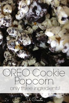 Oreo Cookie Popcorn Recipe. Not only  sounds delicious but could create some really cute packaging and make it a fun and simple gift. Ideas are swarming as I type :)