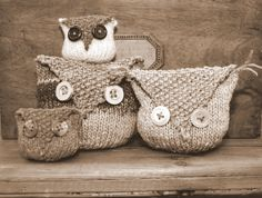 Knitted owl bags