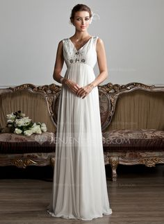 Wedding Dresses - $129.99 - A-Line/Princess V-neck Floor-Length Chiffon Tulle Wedding Dress With Ruffle Beading (002013800) http://jenjenhouse.com/A-Line-Princess-V-Neck-Floor-Length-Chiffon-Tulle-Wedding-Dress-With-Ruffle-Beading-002013800-g13800