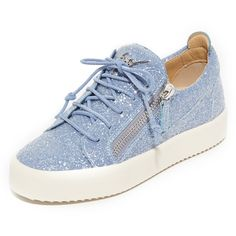 Giuseppe Zanotti Glitter Lace Up Sneakers ($690) ❤ liked on Polyvore featuring shoes, sneakers, glicine, laced shoes, genuine leather shoes, leather lace up shoes, leather shoes and glitter trainers