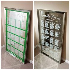Good morning! A few of you were curious about my process for creating the mirror seating chart I posted yesterday so I thought I'd share this photo. After planning the layout on a piece of paper (I'm low-tech, what can I say), I used painter's tape to create the grid. I measured and added tick marks to the tape where I wanted each line of writing to begin. I then held a ruler in place and lettered each line, moving down each table one line at a time. A couple of tips for anyone taking on a…