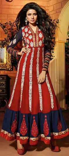 433753, Anarkali Suits, Georgette, Machine Embroidery, Stone, Patch, Zari, Thread, Lace, Blue, Red and Maroon Color Family