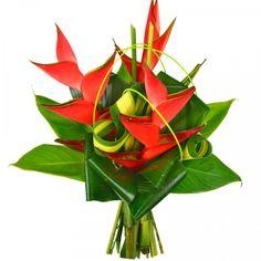 Discover thousands of images about Ce bouquet se compose de 3 balisiers rouges.