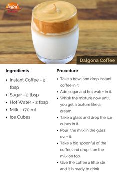 Dalgona Coffee is a beverage that is made with whisking coffee, sugar and hot water in equal proportions. Eggless Recipes, Nutella Recipes, Tea Recipes, Coffee Recipes, Chocolate Recipes, Dessert Recipes, Cooking Recipes, Vegetarian Cooking, Recipies